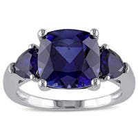 Miadora Sterling Silver Created Blue Sapphire 3-Stone Cocktail Ring