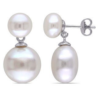 Miadora Sterling Silver Freshwater White Pearl Dangle Earrings