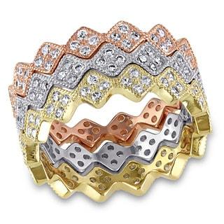 Miadora Tri-color Silver Cubic Zirconia Zig Zag Stackable Ring