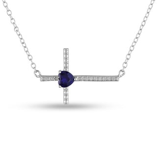 Miadora Sterling Silver Created Blue Sapphire Cross Necklace