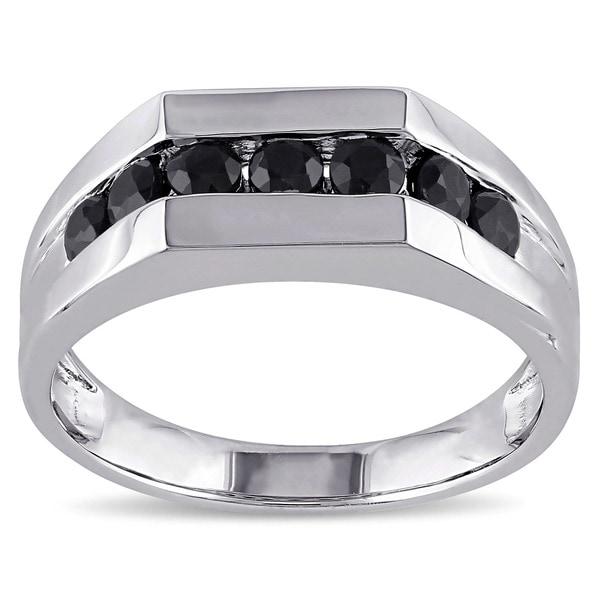 Miadora Sterling Silver Black Sapphire Men's Eternity Ring