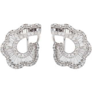 18k White Gold 4ct TDW Clustered Diamond Clip Earrings (G-H, SI1-SI2)