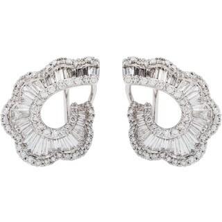 18k White Gold 4ct TDW Clustered Diamond Clip Earrings (G-H, SI1-SI2)