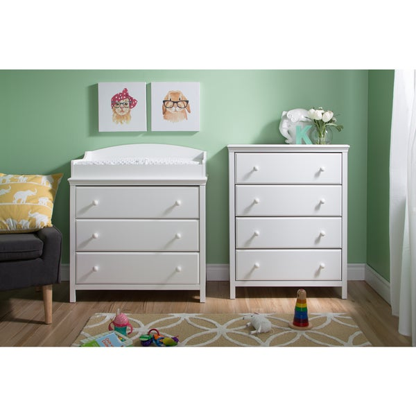 Pure White South Shore Cotton Candy Changing Table with Drawers