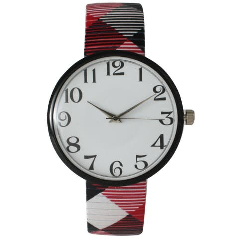 Olivia Pratt Women's Checker Stretch Bracelet Watch