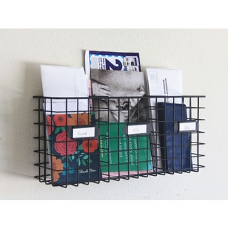 Three Compartment Mail Basket Letter Holder in Black Metal