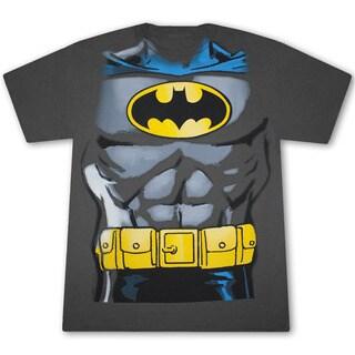 Batman Classic Retro Costume Grey Graphic Tee Shirt