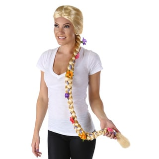 Women's Long Blond Braided Flower Wig