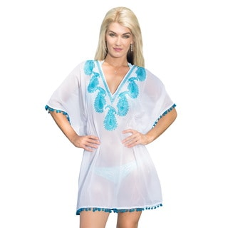 La Leela Sheer Chiffon Paisley Sequin V-Neck Beach Swim Cover up Kaftan Caftan Blue