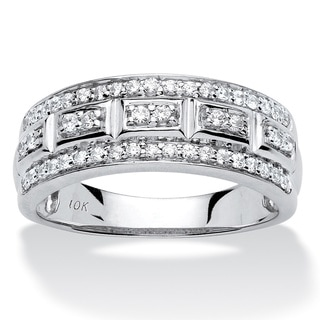 10k Gold 1/3ct TDW Pave Diamond 3-row Ring (H-I, I2-I3)