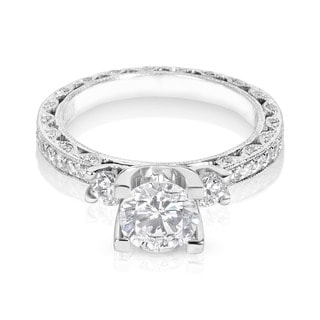Tacori Platinum 6.5 mm CZ and 7/8ct TDW Diamond Semi-mount 3-stone Engagement Ring (G-H, VS1-VS2)