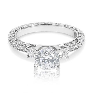 Tacori Platinum 3-stone and Round Center 7/8 ctw Diamond Engagement Ring Setting (G-H, VS1-VS2)