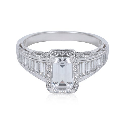 Tacori Platinum 7/8ct Diamond Square-cut Engagement Ring Setting