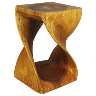 Handmade Original Wood Twist Stool - 12 x 12 x 18