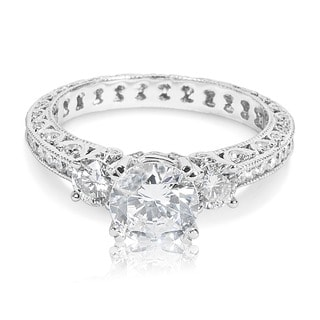 Tacori Platinum 3-stone Round Center 1 ctw Diamond Engagement Ring Setting (G-H, VS1-VS2)