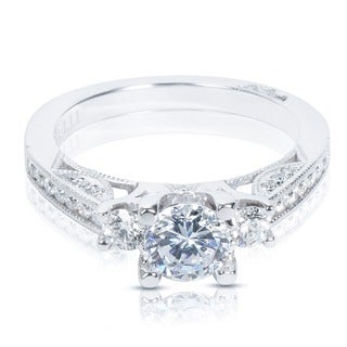 Tacori 18k White Gold Semi-mount 1/ 2ctw Diamond Engagement Ring (G-H, VS1-VS2)