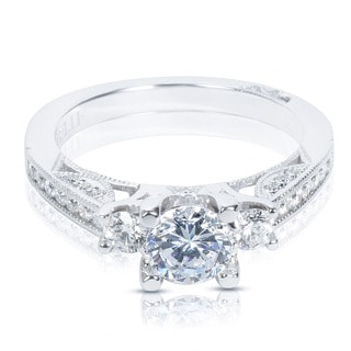 Tacori 1/ 2ct TDW CZ & Diamond 18K White Gold Semi-mount Bridal Ring (G-H, VS1-VS2)