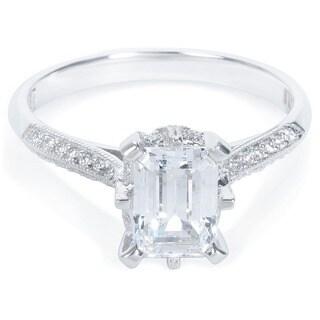 Tacori Platinum 1/8ct TDW Emerald-cut CZ and Diamond Semi-mount Bridal Ring (G-H, VS1-VS2) (Option: 7)