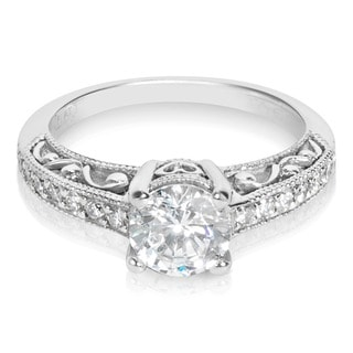 Tacori Platinum HT 2154 Round CZ Center 1/4 ctw Diamond Engagement Ring (G-H, VS1-VS2)