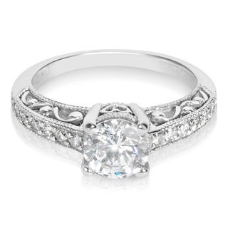 Tacori Platinum 1/4 ct TDW Diamond Engagement Ring Setting with 6.5 mm Round CZ Center (G-H, VS1-VS2)