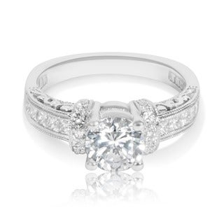Tacori Etched Platinum 1/2ct TDW CZ and Diamond Semi-mount Bridal Ring (G-H, VS1-VS2)