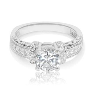 Tacori Etched Platinum 1/2ct TDW CZ and Diamond Semi-mount Bridal Ring (G-H, VS1-VS2)
