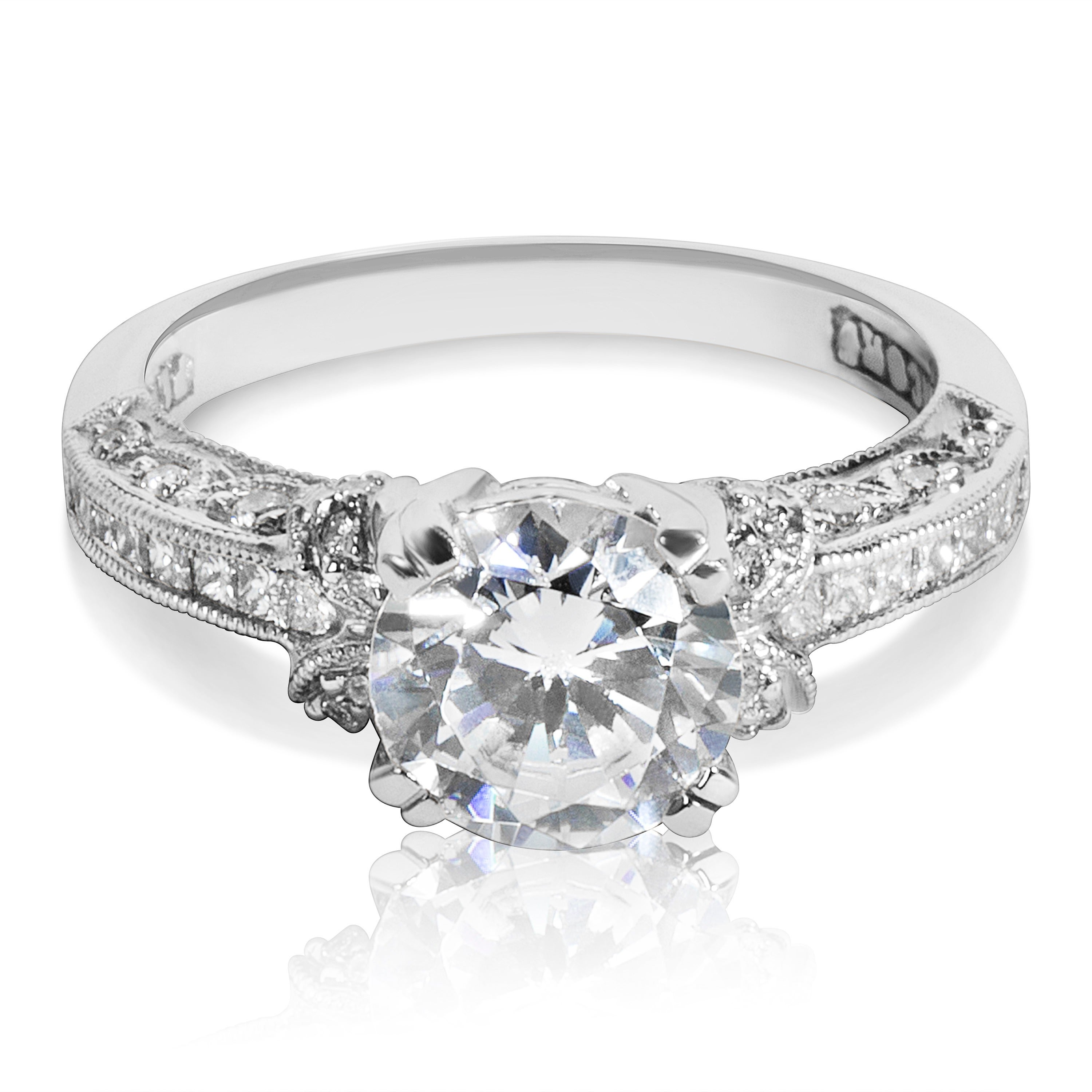 TACORI Platinum 1/3ct TDW CZ and Diamond Semi-mount Solit...