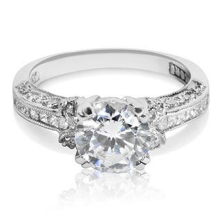 Tacori Platinum 1/3ct TDW CZ and Diamond Semi-mount Solitaire Bridal Ring (G-H, VS1-VS2)|https://ak1.ostkcdn.com/images/products/10430732/P17528728.jpg?impolicy=medium