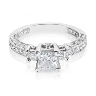 Tacori Platinum HT 2258 3-stone Semi-mount 1/2ctw Diamond Engagement Ring (G-H, VS1-VS2)