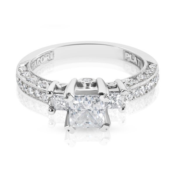 Tacori Platinum HT 2258 3-stone Semi-mount 1/2ctw Diamond Engagement Ring