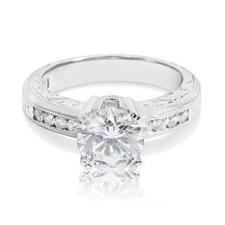 Tacori Platinum CZ and Semi-mount 1/4 ctw Diamond Engagement Ring Setting (G-H, VS1-VS2)