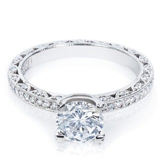 Tacori Platinum HT 2257 Round-cut CZ and Semi-mount 1/2 ctw Diamond Engagement Ring (G-H, VS1-VS2)