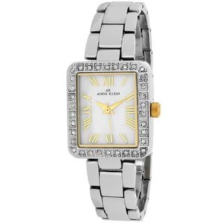 Anne Klein Women's 10-9623MPTT Classsic Rectangle Silvertone Stainless Steel Bracelet Watch