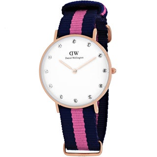 Daniel Wellington Women's 0952DW Classy Winchester Round Two-Color Nylon Strap Watch