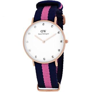 Daniel Wellington Women's 0952DW Classy Winchester Round Two-Color Nylon Strap Watch