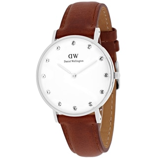 Daniel Wellington Women's 0960DW Classy St. Mawes Round Brown Leather Strap Watch