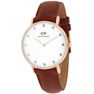 Daniel Wellington Women's Classy St. Mawes Round Brown Leather Strap Watch