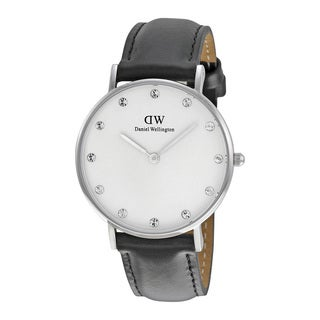 Daniel Wellington Women's Classy Sheffield Round Black Leather Strap Watch