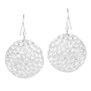Round Hammered Disc Sterling Silver Dangle Earrings (Thailand)
