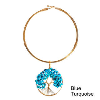 Handmade Tree of Life Blue Turquoise Adorned Brass Choker Necklace (Philippines)
