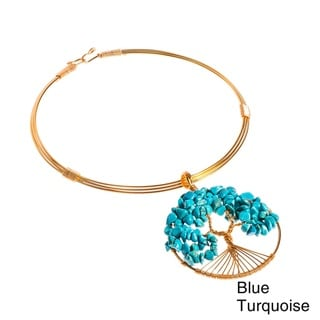 Tree of Life Blue Turquoise Adorned Brass Choker Necklace (Philippines)