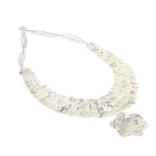 Handmade Purity Flower Drop Infinity Layered Troca Shell Necklace (Philippines)