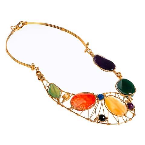 Handmade Festive Multicolor Agate Necklace (Philippines)