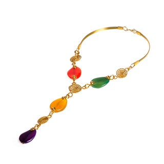 Handmade Multicolor Oval Agate Brass Necklace (Philippines)
