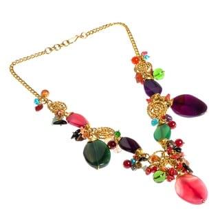 Festive Muse MultiStone Brass Handmade Necklace (Philippines)