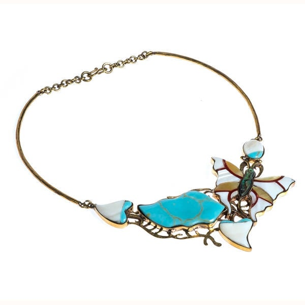 Handmade Vintage Butterfly Mother of Pearl Necklace (Philippines) - turquoise