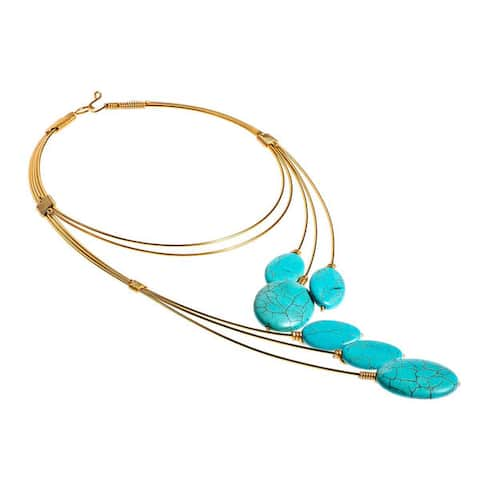 Handmade Modern Chic Floating Blue Turquoise Ovals on Brass Statement Necklace (Thailand)