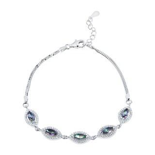 Handmade Oval Orbits Glow Topaz Cubic Zirconia .925 Sterling Silver Bracelet (Thailand)