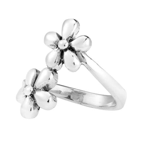 Handmade Twin Flower Wrap .925 Sterling Silver Ring (Thailand)