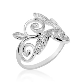 Exotic Vines Swirling Leaf .925 Sterling Silver Ring (Thailand)